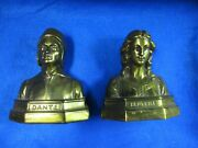 1920and039s Bronze Armor Overlay Dante And Beatrice Bust Gothic Middle Ages Bookends