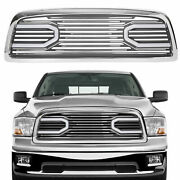 Front Big Horn Chrome Packaged Grille+shell And Light For 2009-2012 Dodge Ram 1500