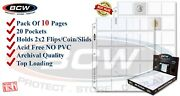 10 Bcw 20 2x2 Pocket Coin Pages For 2x2 Coin Flips Paper Holder Archival No Pvc