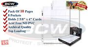 Lot Of 10 Bcw Pro 8 Pocket Pages Trading Card / Coupon Album Binder Sheets New