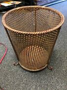 Vintage Antique Gold Filigree Footed Trash Can Wastebasket Made In Italy Metal