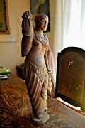 Antique Wooden Curved Statue Woman Figure Holding Lotus Far East 18