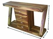 Wood Z Shaped Chest Of 4 Drawers Antique Vintage Home Office Furniture Decor