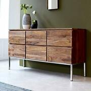 Wood Chest Of 6 Drawers Storage Antique Vintage Home Office Furniture Decor