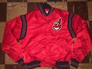 Cleveland Indians Authentic Vtg 1980s 90s Rare Red Starter Jacket Chief Wahoo L