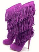 Christian Louboutin For Ever Tina 140 Fringe Purple Suede Boots Euro 36.5