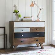 Wood Chest Of 5 Drawers Antique Vintage Home Office Furniture Decor
