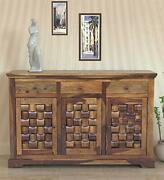 Wood Chest Of 3 Cabinet And 3 Drawers Antique Vintage Home Office Furniture Decor