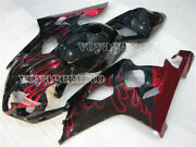 Red Flames Black Full Injection Fairing Fit For 2004-2005 Suzuki Gsxr 600 750 K4