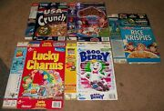 Vintage Lot Of 5 Diff. Cereal Box Flats Boo Berry Count Chocula Lucky Charms ++