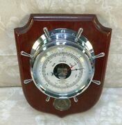 Vintage Airguide Barometer On Mahogany Plaque