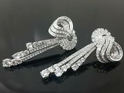 925 Sterling Silver Vintage Style White Cz Cocktail Fine Long Earrings For Women