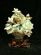 15'' China Xiuyan Jade Hand-carved Beautiful A Basket Of Flowers Statue