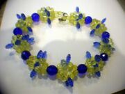 Vaseline Glass And Cobalt Blue Rounds With Blue Art Glass Pieces - Necklace 18