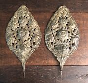 Early 18th Century Baroque Repousse Dutch Brass Sconce Backplates Sunflower 25
