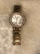 Mk5491 Parker Chronograph Ladies Wristwatch - Mother Of Pearl/rose