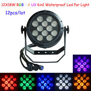 12pcs Waterproof 12x18w 6in1 Rgbwa Uv Led Par Can Lights For T-stage Concerts