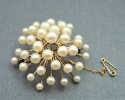 Womens 9ct Gold Pearl Brooch Fine Vintage Fashion Collectable Jewellery