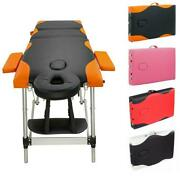 84 Massage Table 3 Fold Beauty Spa Bed Aluminum Facial Tattoo Physical Therapy