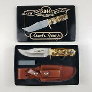 Schrade Uncle Henry 2014 Limited Edit Bowie Knife 171uh Metal Case Sheath Stone