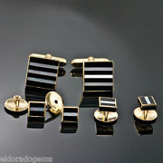 Deakin And Francis Mother Of Pearl Onyx Cufflinks 4 Shirt Stud Set 18k Yellow Gold