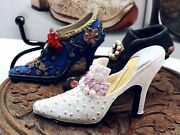 Vintage Collectable Beautiful Set Of Three Miniature Shoes Ornaments Figurines