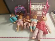 Lot Of 7 Baby Dolls And Accessories Toys Bunk Bed Clothes Boys And Girls