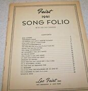 Feist 1941 Song Folio - Piano - Words And Music - 20 Songs - Guc Covers Missing