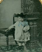 Victorian Toddler Child With Toy Shovel, Antique Vintage Ambrotype Photo