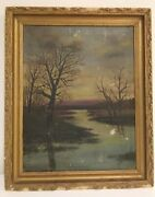 Rare Antique Mary Alice Burton Oil On Canvas Painting Wood Frame