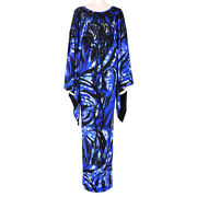 Emilio Pucci Blue Shimmering Black Bead Embellished Maxi Dress Gown It42 Uk10