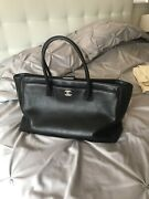 Black Calfskin Leather Cerf Shopper Tote Large Bag Authentic