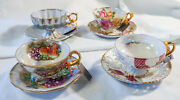 Four Royal Sealy Japan Teacups And Saucers, Lusterware Gold Accented Porcelain