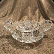 Fry Brand American Brilliant Abp Two Handled Clear Cut Glass Serving Dish