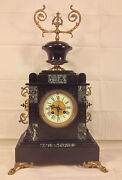 Antique Japes Freres Mantel Clock With Urn Topper Runs And Strikes France