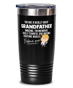Funny Grandfather Gift Trump Tumbler Mug Stainless Vacuum Insulated Black 20oz W