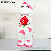 Pink Cow Strawberry Mascot Costume Suits Cosplay Party Game Dress Outfits Adv