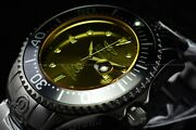 54mm Grand Diver Sunray Automatic Yellow Tinted Crystal Black Ss Watch
