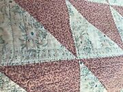 Antique Handmade Quilt With Wonderful Old Vintage Great Farbic Very Old