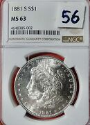 56 1881 S Ms 63 Great Morgan Silver Dollar Free Shipping And Tracking Ngc