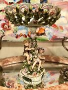 Antique Meissen Style Porcelain Figural And Floral Reticulated Bowl Compote