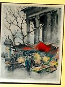 Herman Edouard Wagner Signed Colored Lithograph