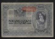 Austria/hungary 1818 10000 Kronen Banknote Vf As Shown