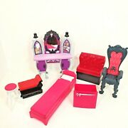 Monster High Furniture Vanity Bed Chair Couch Chaise Stool Pink Goth Lot Of 7