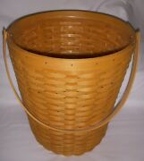 Longaberger 1999 Classic Hostess Banker's Waste Basket And Plastic Protector Euc
