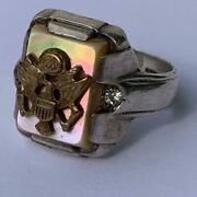 Vintage Sterling Silver Mother Of Pearl Army Eagle Emblem Military Ring Sz 10.5