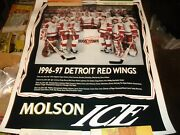 Vintage Hockey Poster Detroit Red Wings 1996-97 Team Photo/names Listed/molson