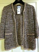11p New Tags Most Wanted Navy Beige Crochet Gold Cc Chain Jacket Fr36-34