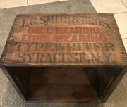 Antique Wood Wooden Lc Smith Typewriter Crate Dovetail Wood Crate Syracuse Ny