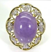 Huge Lavender Jade And 0.25ct Diamond 14k Yellow Gold Ring Size Q 8 1/4